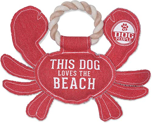 Pavilion Gift Company 11 Inch Large Canvas Tug of War Crab Shaped Rope Toy-Sturdy & Durable This Dog Loves The Beach, Red