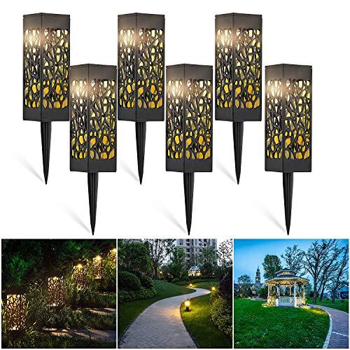 CPROSP 6 Stücke Solarleuchte Garten mit Erdspieß Warmes weiß LED Solar Gartenleuchten Solar Fackel Solarlampen für Außen Dekorative Garten Licht für Garten Außen Terrasse Gehwege Rasen