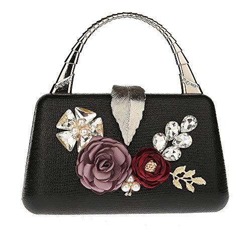 xiangpi hand-held flower bag Fashionable PU small handbag All-match dinner bag Dress bag Clutch bag-black