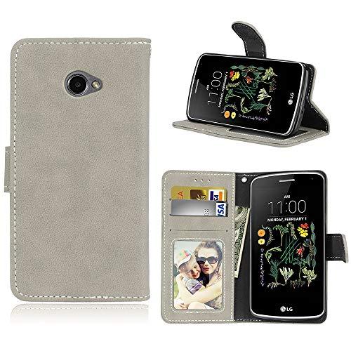 """Janeqi per LG K5(5.3"""") Cover Custodia - Borsa Vintage in Pelle Flip con Trattamento Anti-Caduta Case Cover - H5/Grigio"""