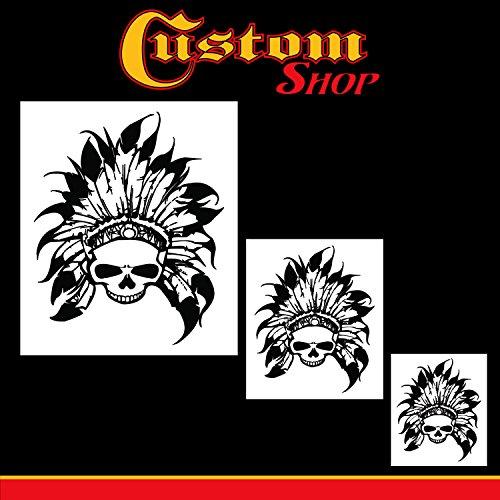 Custom Shop Airbrush-Schablonen-Set mit Totenkopf-Motiv, indischer Häuptling, Totenkopf-Design #11 in 3 Maßstäben – lasergeschnittene wiederverwendbare Vorlagen – Auto, Motorrad Grafik Kunst