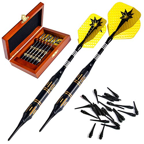 DongQi Plastic Tip Darts Set - Soft Tip Darts for Electronic Dart Board - Aluminum Shafts with O'rings, Extra Tips and Extra Flights with Wooden Case