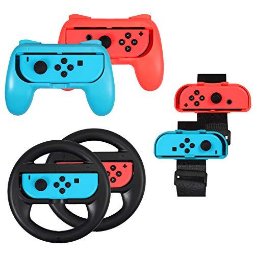 AUTOUTLET 3 en 1 Grip para Nintendo Switch Joy-con, Banda de Danza de Muñeca, Volante, Accesorios para Mario Tennis Aces, Controlador de Interruptor de Mango, Compatible con Just Dance 2017-2020
