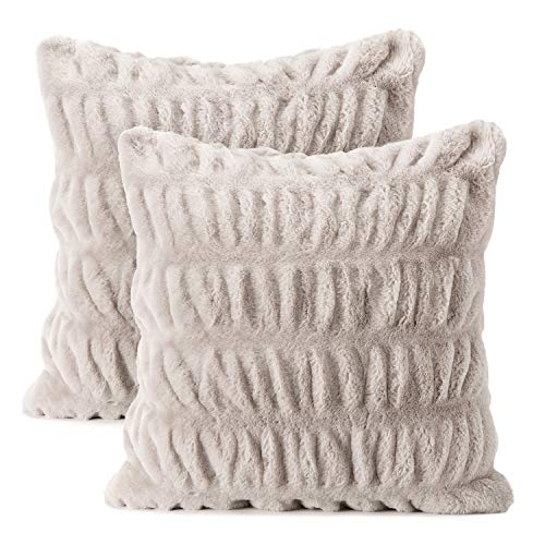 Chanasya 2-Piece Ruched Royal Faux Fur Pillow Cover Set - Fuzzy Plush Elegant Throw Pillow for Sofa Chair Couch and Bed with Reversible Velvet (18x18 Inches) Taupe