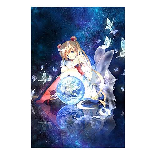 5D Diamant Malerei DIY Kit Cartoon Voller Diamanten Kreuzstich Mosaik Strass Malerei Wohnzimmer Schlafzimmer Wanddekoration Malerei Sailor Moon Wassereismond 50X70CM