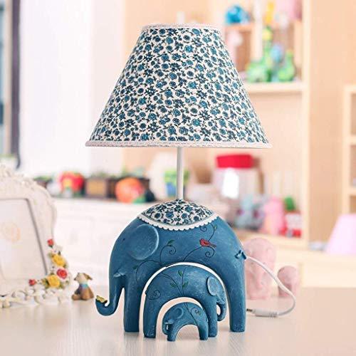 ZUQIEE lámpara de cabecera Lámparas de mesa, lámparas de mesa Dormitorio personalidad simple de niños, el estudio creativo del elefante del bebé de la lámpara, interruptor regulable lámpara de cabecer