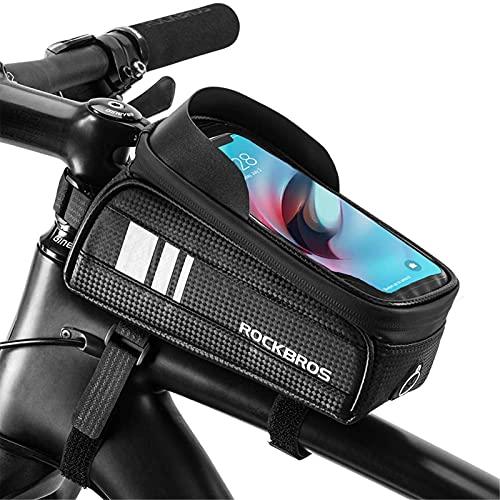 GOLDGOD Bolsa para Cuadro De Bicicleta, Impermeable Bolsa Triangular De Bicicleta con Pantalla Táctil Y Conector para Auriculares Bolsa Bicicleta Tubo Frontal para Teléfonos hasta 6.5'