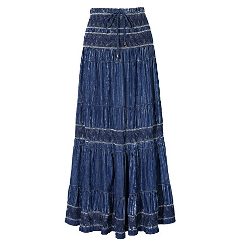 DREFBUFY Maxi Skirt Womens High Waist Pleated Tiered Long Skirts, Denim Look with Elastic Waistband, Casual Style Midi Dress for Women, Multi Wearing Styles (Blue15, Large)