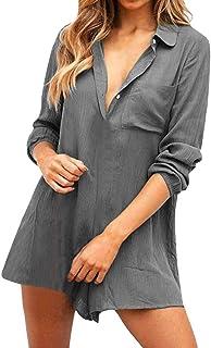 女性の柔らかい夏ボタンダウンポケットルース長袖ショートプレイスーツジャンプスーツ