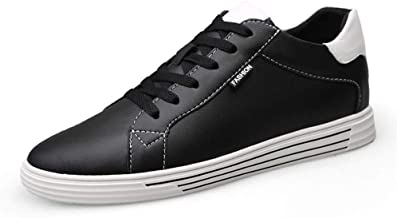 ZhengELE-Athletic Shoes Fashion Sneakers for Men Athletic Sports Elevator Shoes Lace up Genuine Leather Height Increasing Antislip Outsole Men's Casual Shoes (Color : Black 8CM, Size : 44 EU)
