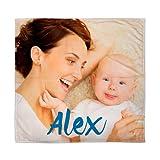 Lolapix Manta Bebé con Foto/Imagen/Nombre/Texto | Regalo Bebé Recién Nacido | Tejido Polar Poliéster | Natalicio
