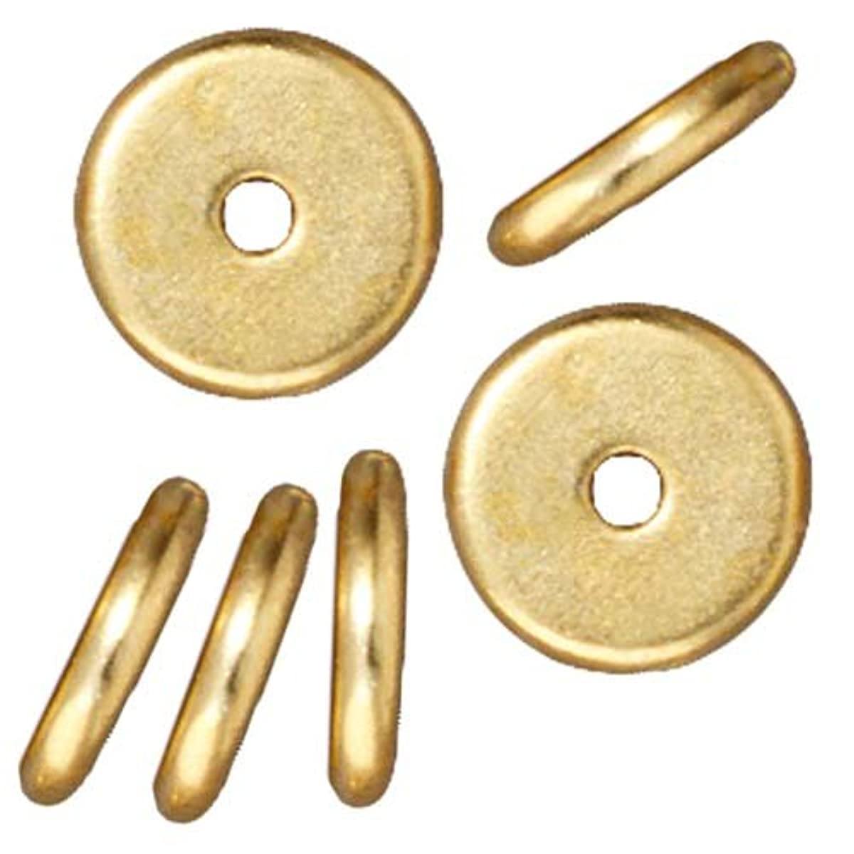 TierraCast Bright 22K Gold Plated Lead-Free Pewter Disk Heishi Spacer Beads 8mm (10)