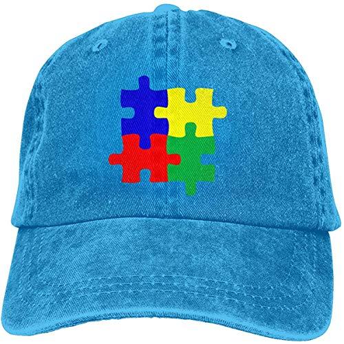 Voxpkrs Men Or Women Cotton Denim Baseball Hat Adjustable Strap Low Profile Autism Awareness Day Autistic Puzzle Plain Cap Cool4462