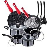 San Ignacio Paquete 3 sartenes diámetro 20/24/28 cm + Batería de cocina 8 piezas + Set accesorios utensilios de cocina en...