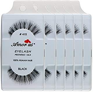 100% Human Hair False Eyelashes #415(pack of 6pairs) ////Why Pay More//// by Amor us