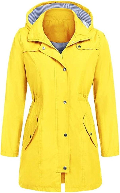 Wokasun.JJ Women's Solid Rain Jacket Outdoor Hoodie Waterproof Hooded Raincoat Windproof