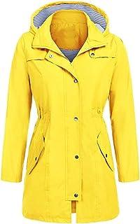 Pervobs Women Solid Rain Jacket Outdoor Waterproof Hooded Zipper Raincoat Windproof
