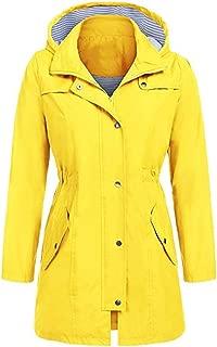 vermers Women Casual Solid Hooded Raincoat Jacket, Women's Outdoor Waterproof Hoodie Windproof Clothes
