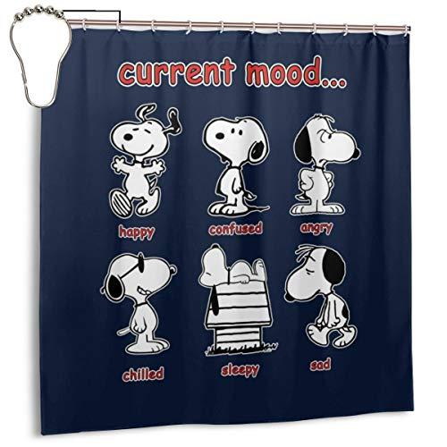 GSEGSEG Wasserdichter Polyester-Duschvorhang Snoopy Aktuelle Stimmungsdruck dekorativer Badezimmer-Vorhang mit Haken, 182,9 x 182,9 cm