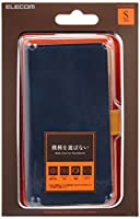 ELECOM スマートフォン用汎用レザーケース 手帳型 スライド仕様 Sサイズ(-4.5inch) ネイビー P-01PLFYBU