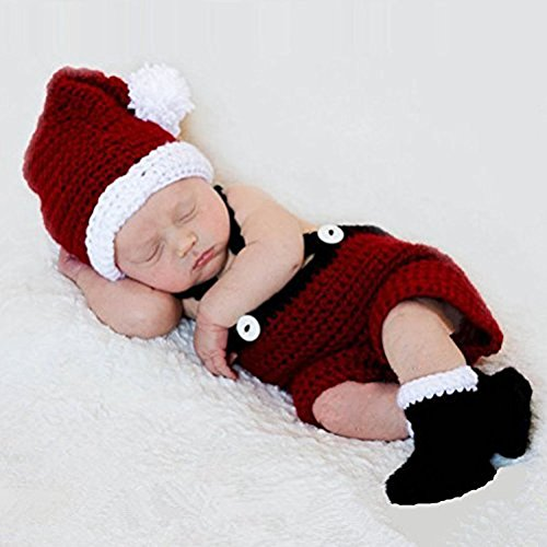 Dayan morbido Handmade crochet Knit foto-ricordo cute Baby Christmas Outfits, costume di Babbo Natale per bambino (0–9mesi)