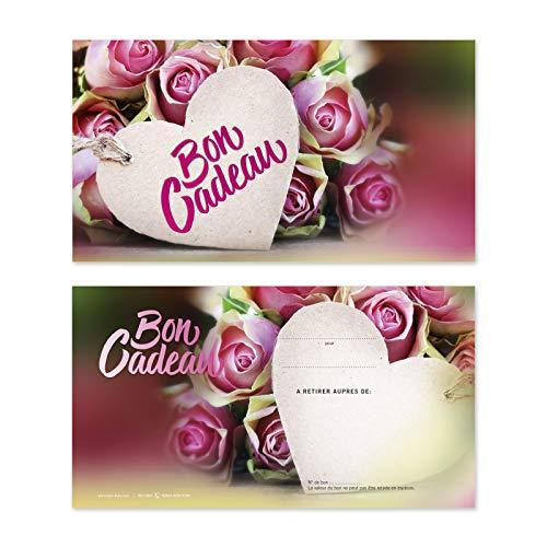 100 Bons cadeaux de haut niveau avec des motifs pour fête des mères, 14 février La Saint Valentin. Recto à haute brillance. BL1246F
