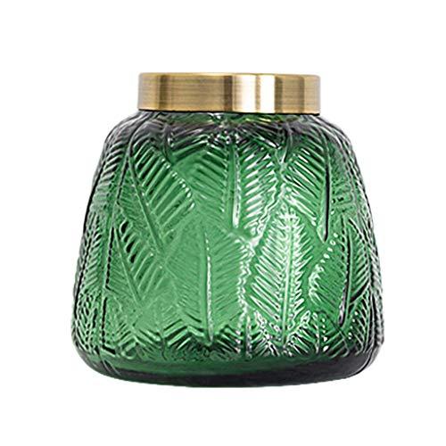 ZXL Groene Relief Glas Bloem Vaas Fles Creatief Glas Voor Plant Hydroponische Droge Bloem Ornamenten voor Woonkamer Woonkamer Woonaccessoires Vensterbank, 2 Maten Optioneel 15cm / 20cm (Maat: S)