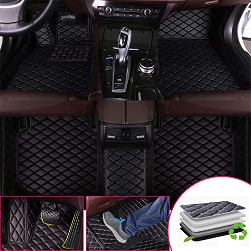 Custom Car Floor Mats for Audi A8/A8L 2011-2016 12-Cylinders and 4-Seats Full Surrounded Waterproof Anti-Slip All Weather Protection Leather Material Car mat Carpet Liners Black