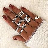 Edary - Set di anelli vintage a forma di stella, in argento, a forma di corona e fiore, impilabili, per donne e ragazze (11 pezzi)