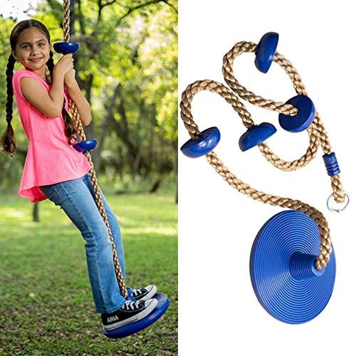 HYISHION Columpio de cuerda de escalada con plataforma y disco, juego de cuerda de escalera para niños al aire libre, árbol, patio trasero, patio de recreo, amarillo (color: azul) SKYJIE (color: azul)