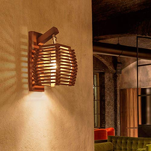 Lámpara de pared, lámpara de pared china, lámpara de leña de cabecera en la sala de estar y el dormitorio, lámpara de pared nostálgica clásica de madera maciza