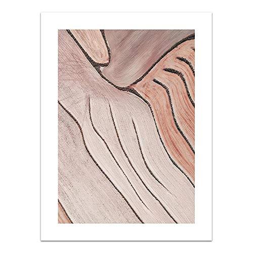 U/N Abstrakte Wandkunst Rosa Farbblock Leinwand Malerei Farm Flelds Poster und Druck Wandbild für Living Home Decoration-9