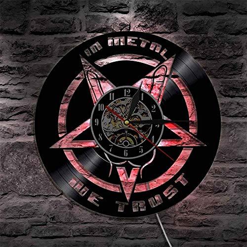 ZZLLL We Trust Music Quote Rock Hand Reloj de Pared Rock n Roll Heavy Metal Registro de música Reloj de Pared Regalo para Amantes de la música