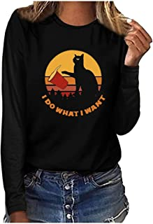 🌟 Sherostore 🌟 Womens Graphic Long Sleeve T Shirts Poached Egg/Cat Print Blouse Round Neck Sunflower Funny Tees Tops