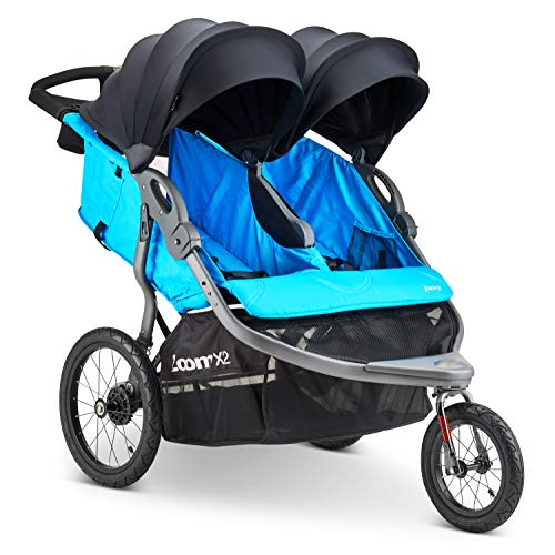 Joovy Zoom X2 Double Jogging Stroller, Double Stroller, Extra Large Air Filled Tires, Glacier