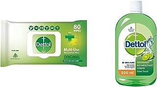 Dettol Disinfectant Skin & Surface Sanitizing Wipes, Original – 80 Count  Safe on Skin  & Dettol Liquid Disinfectant Clean...