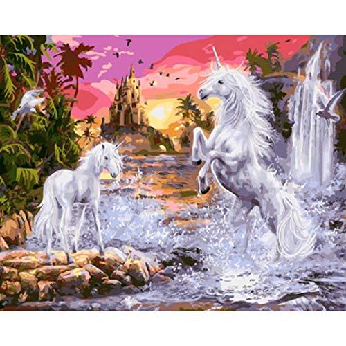 Pintura por números imágenes unicornio Animal para colorear para dibujar en lienzo Kits de bricolaje para adultos pintura por números A12 45x60cm