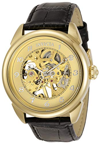 Invicta Men's Specialty Stainless Steel Quartz Watch with Leather Strap, Black, 22 (Model: 31306)