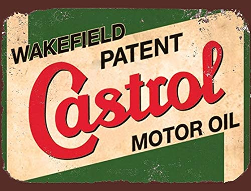 Novelty Retro Vintage Wall tin Plaque 20x15cm - Ideal for Pub shed Bar Office Man Cave Home Bedroom Dining Room Kitchen Gift - Castrol GTX Wakefield Motor Oil Garage Workshop Repair Metal Sign