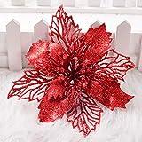 VKTY flores de Navidad con purpurina hueca, 6 piezas de decoración de árbol de Navidad, corona de Navidad, suministros para hacer manualidades, flores artificiales, poinsettia, color dorado, Rojo