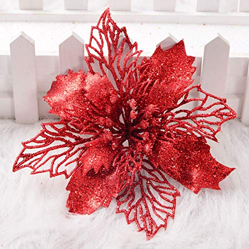 VKTY - Fiori di Natale con Glitter, 6 Pezzi, Decorazioni per Albero di Natale, ghirlande, Fai da Te, Fiori Artificiali, Stella di Natale, Colore Oro, Rosso, 6 Pezzi
