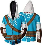 Hibuyer Mens Link 3D Printing Hoodie Hyrule Warriors Zip Up Top Anime Cosplay Costumes Unisex (Small, As Picture)