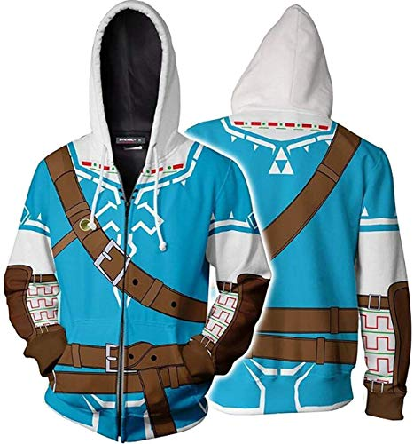 Hibuyer Mens Link 3D Printing Hoodie Hyrule Warriors Zip Up Top Anime Cosplay Costumes Unisex (Small