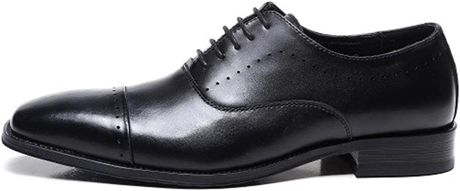 Men's Business Leather shoes Formal Dress Lace ups Oxfords shoes Work Casual Round Toe Low heel Footwear