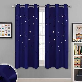 NICETOWN Starry Sky Curtains for Nursery - Navy Grommet...