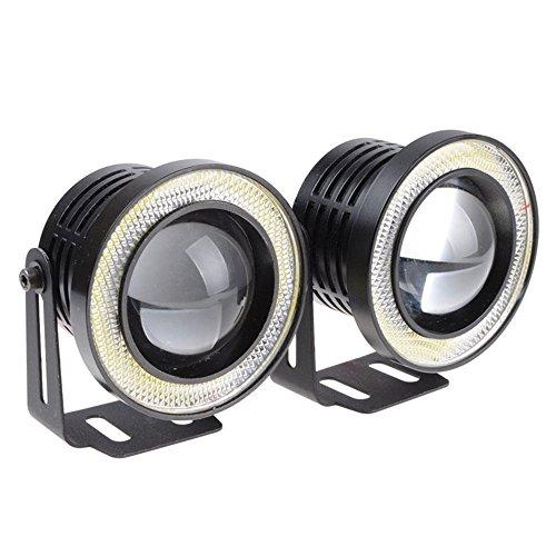 2 pcs haute puissance 7,6 cm Vidéoprojecteur universel LED Feu de brouillard Blanc/bleu/rouge COB Halo Angel Eye Anneaux