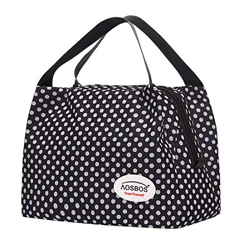 Aosbos - Sac Lunch Bag avec motif points blancs 8,5L