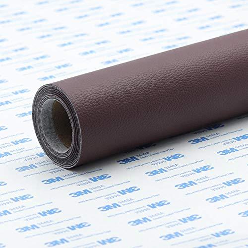 ROMDEANK Kit de Parche de Piel,Cinta Autoadhesiva de Reparación de Cuero para Sofá Asientos de Coche Pegatina de Reparación de Polipiel Parches(20X120CM,Rojo marrón)