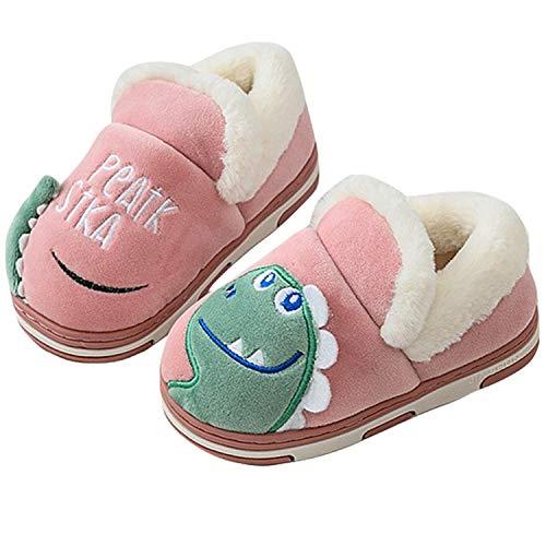 Zapatillas de Estar por Casa para Niños Niñas Pantuflas Invierno Casa Caliente Peluche de Zapatilla Slipper Interior Rojo 16/17=23-24EU