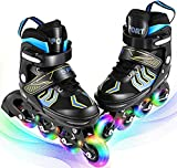 Profun Inline Skates Jungen / Mädchen LED Räder, verstellbare Inline Skates für Kinder / Jugendliche / Erwachsene - Pink / Blau / Weiß (Blau, 39-42)